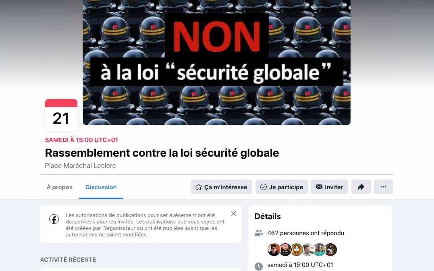 """Une manifestation samedi à Poitiers contre la loi """"sécurité globale"""""""