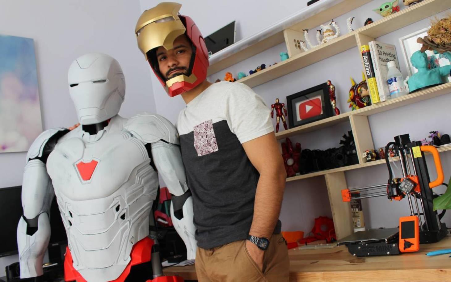 Dans le costume d'Iron Man