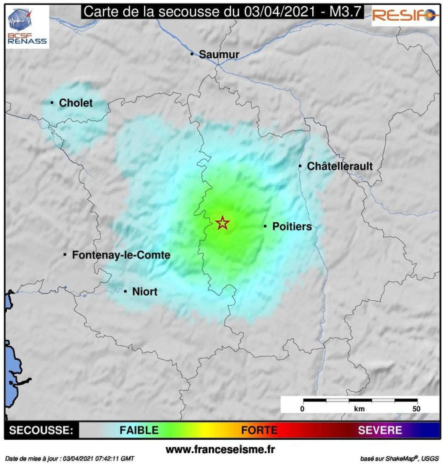 Un séisme de magnitude 3,7 ressenti près de Poitiers