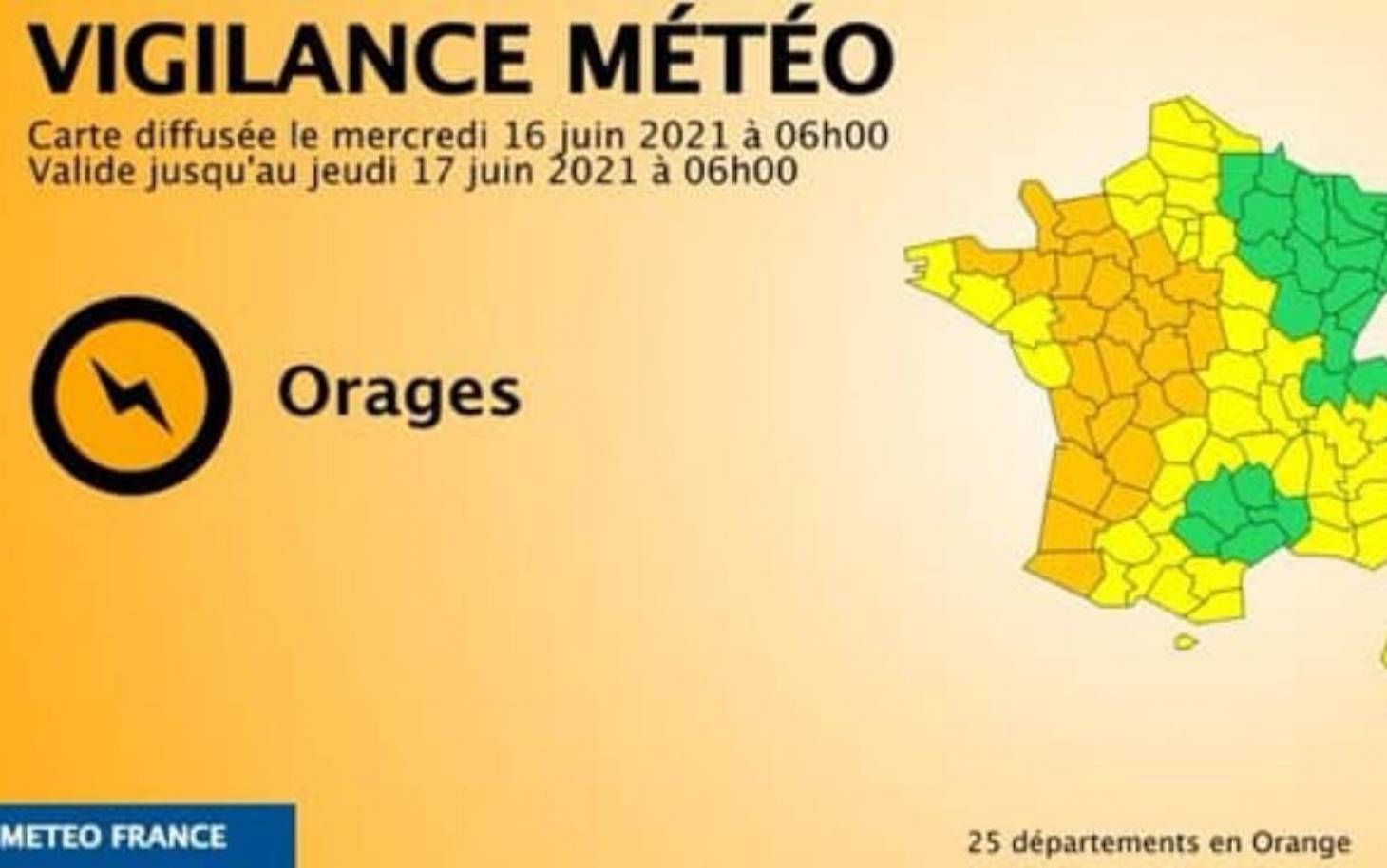 Météo France – La Vienne en vigilance orange en raison de risques d'orages dès la fin d'après-midi