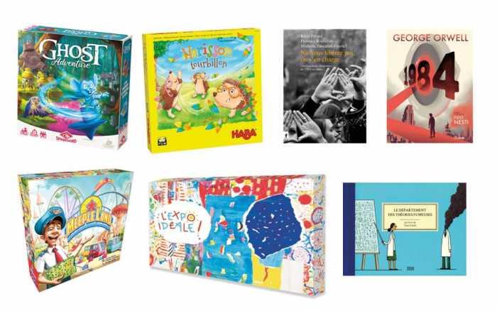 Sept livres et jeux sous le sapin